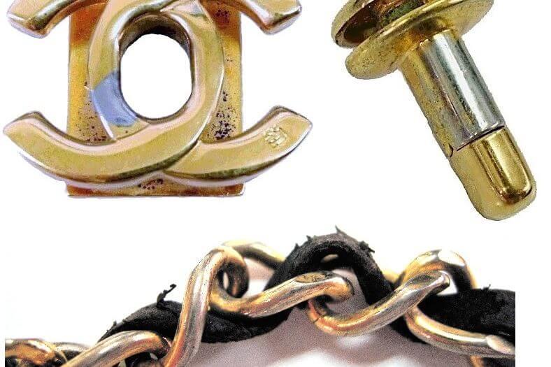 シャネル マトラッセの金具再メッキと革紐交換|<p>マトラッセの金具の再メッキとチェーンの革ひも交換です。革ひもは長さにより対応不可な場合もございます。</p>