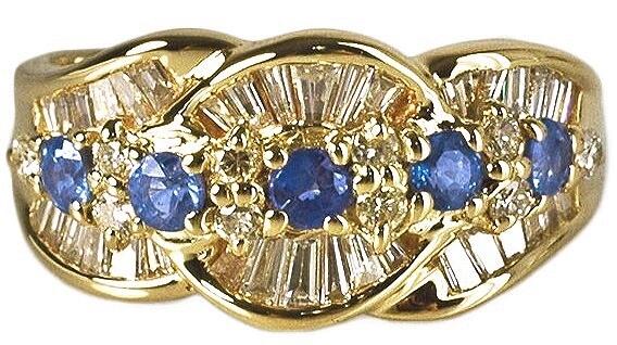 K18 サファイア&ダイヤリングの新品仕上げ|<p>バッグの色修復のついでにと新品仕上げのご依頼です。毎日着けていると全く気にならなかったのに戻って来た指輪を見てダイヤモンド本来の輝きに感激したとご連絡を頂きました。</p>